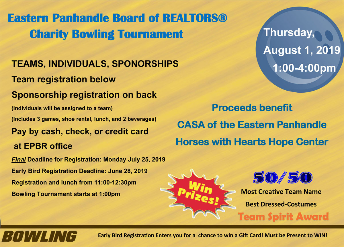 EPBR Charity Bowling Tournament - August 1, 2019 - Eastern
